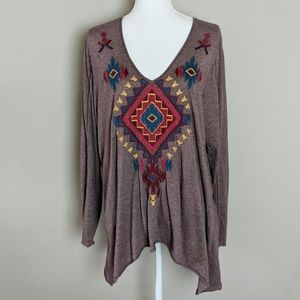 Johnny Was Brown Red Blue LS Embroidered Top XL